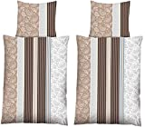 4-Teilig Hochwertige Biber Bettwäsche mit Reißverschluss 2x 135x200 Bettbezug + 2x 80x80 Kissenbezug (Ornament braun)
