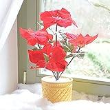 LED Weihnachtsstern beleuchtet Batterie Blumentopf Kunstpflanze Blume 43cm Licht Lichter Kunstblume Kunstpflanze Leuchte Tisch Dekoration Deko