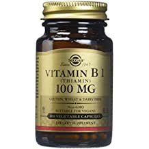 Solgar Vitamin B1 Thiamin Vegetable Capsules, 100 mg, 100 Count