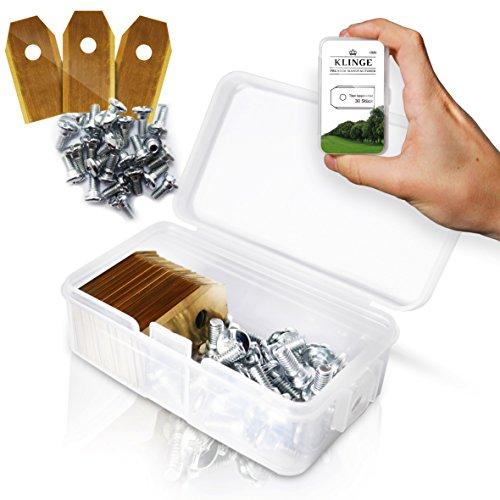 30x Titan Messer Klingen lange haltbar für alle Husqvarna® Automower® & Gardena® Mähroboter - [3g - 0,75mm] + 30 Schrauben - Gratis eBook - Typ 105, 310, 315, 320, 420, 430x, r40i und mehr
