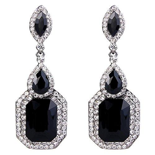 Clearine Damen Fashion Einfach Geometrisch Kristall Marquise Tropfen Form Chandelier Dangle Statement Ohrringe Schwarz-Ton Schwarz