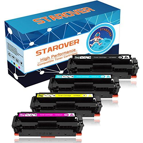STAROVER 4x Kompatibel Tonerkartuschen für HP 201A / 201X CF400A / CF400X CF401X CF402X CF403X Toner Patronen für HP Color LaserJet Pro MFP M252dw M252n M277dw M277n M274n M274dw Drucker (1 Schwarz + 1 Cyan + 1 Magenta + 1 Gelb)