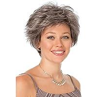 SHKY Parrucche dei capelli parzialmente grigi d argento ricci corti delle  donne di mezza età Parrucche sintetiche. 99eca0b97d09