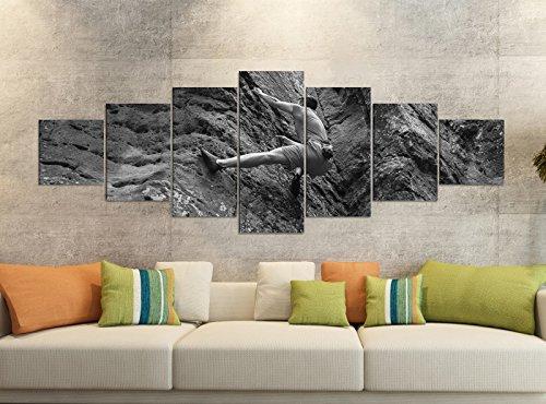 Leinwandbilder 7 Tlg 280x100cm schwarz Freeclimbing Felsen Klettern Extrem Leinwand Bild Teile teilig Kunstdruck Druck Wandbild mehrteilig 9YB1892, Leinwandbild 7 Tlg:ca. 280cmx100cm