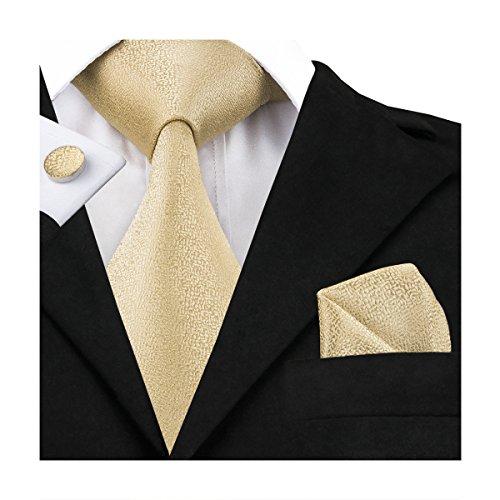Hi-Tie, Seiden-Krawatte für Herren mit Manschettenknöpfen und Taschentuch Gr. One size, gold (Italienische Designer Seidenkrawatte)