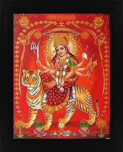 Avercart Goddess Amba / Ambaji / Ambika / Sheravali / Maa Ambe Poster 8.5x11 inch with Photo Frame (21x28 cm framed)