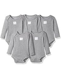 Burt's Bees Baby Baby Set of 5 Bee Essentials Solid Long Sleeve Bodysuits, 100% Organic Cotton