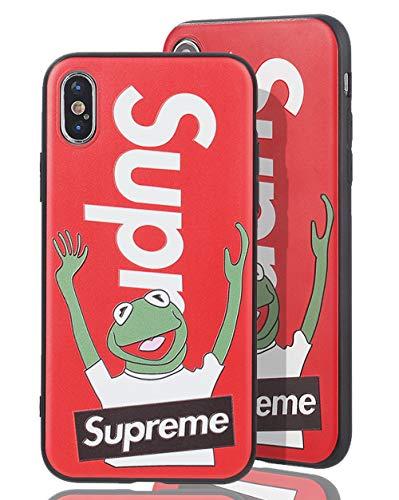 SUP Frog Case [ Passend für iPhone X, in Rot ] Supreme x Kermit der Frosch Hülle - Fühlbares 3D-Motiv Cover (Supreme Case)