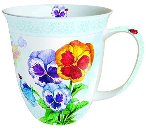 Ambiente Mug Tee / Kaffee Becher Aquarell Pansy ca. 0.4L Pansy Bone China