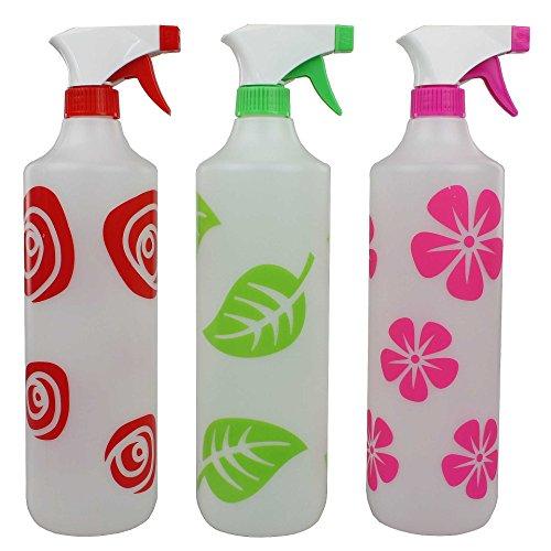 3er Set bunte Sprühflaschen 1 Liter Kunststoff Blumensprüher Pflanzensprüher Wassersprüher mit diversen Motiven Spray-Flasche (Große Spray Flasche)