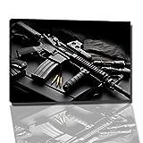 Dark Waffe Bild auf Leinwand -- 60 x 40 cmfertig gerahmte Kunstdruckbilder als Wandbild - Billiger als Ölbild oder Gemälde - KEIN Poster oder Plakat