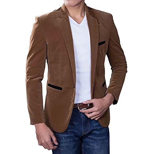BiSHE Herren Corduroy Blazer Anzüge Mantel Baumwolle Smart formales Abendessen Anzugjacke Camel