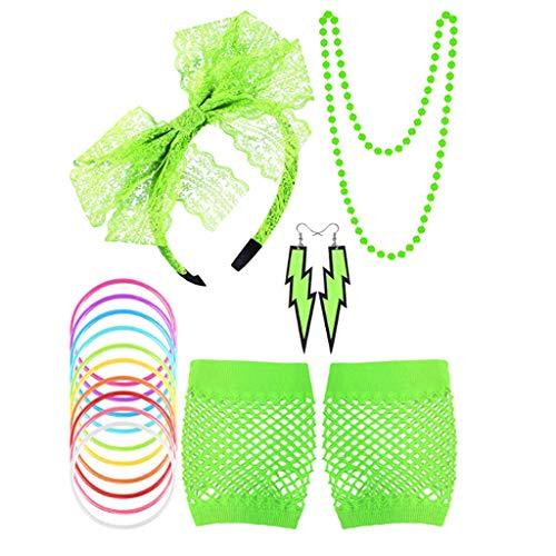 Fuxiang 1980s Jahre Kostüm Kleid Zubehör Sets Damen Mädchen Fancy Night Out Party Dress 80er Neon - 1980 Kostüm Mädchen