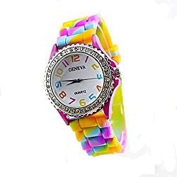 Fashion Women's Multicolor Rainbow Silicone Crystal Diamante Wristwatches Fashion Wrist Watch