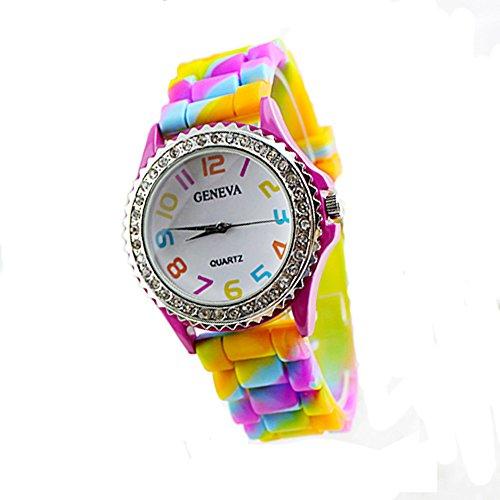 Armbanduhr, Damen, Kristallsteine, Silikon, buntes (Supplies Phoenix Party)