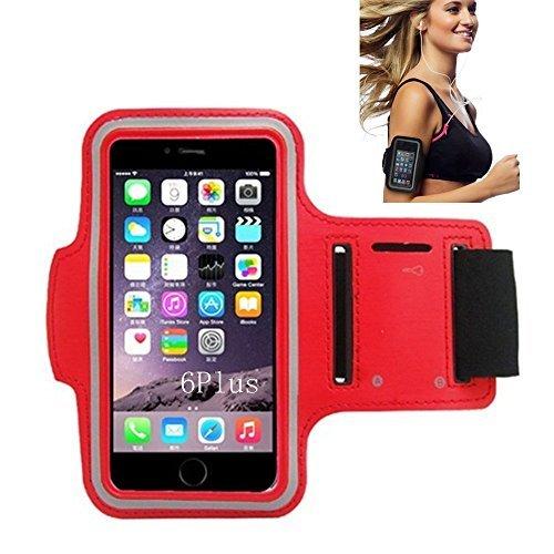 iPhone 66S Sportarmband, CANTOP Sportarmband Schutzhülle für iPhone 66S 55S iPod mit Schlüsseltasche, verstellbar, einfach Kopfhörer Anschluss, Best für Gym, Sport Fitness, Laufen, Training, rot