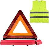 AHOMME Kits d'urgence pour Auto , Triangles de Signalisation, Gilets de Sécurité, Kit Triangle Gilet Homologue, Kit auto sécurite