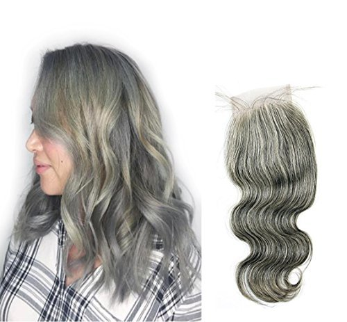 10inch , 4x4closure-body wave : Ms Fenda Hair 100% Raw Virgin Malaysian Human Hair Body Wave style Grey Color Free Part Bleached Knots 35gram/pc 4X4 Lace Closure(10inch,Grey)
