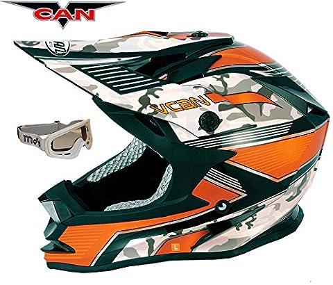 V-CAN V321Force New MX Moteur Vélo Cycle Track Racing Casque ACU or Orange et Blanc pour masque de ski