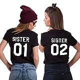 JWBBU T-Shirt Best Friends Shirt für Zwei Damen Mädchen Freundin BFF Freunde Freundschaft Tops Geburtstagsgeschenk 2 Stücke Baumwolle Sommer(Schwarz,Sister-01-M+02-M)