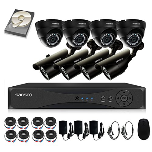 Cheapest Price for [TURE 1080p] SANSCO 8CH CCTV Security System with Smart DVR and 8 Outdoor Cameras and Unique 2TB Hard Drive (1920×1080 Bullet Dome Cam, Rapid USB Backup, Vandal Proof, Night Vision, Mobile App: Xmeye)