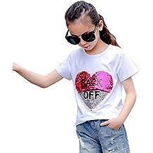 163e96c62 Desigual Corazón Lentejuela Reversibles Camiseta Niña Moda Linda Tops Manga  Corta