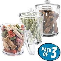 mDesign Juego de 3 contenedores para pienso – Práctica caja con tapa para comida para perros y gatos – Caja para pienso pequeño y golosinas para mascotas – Transparente