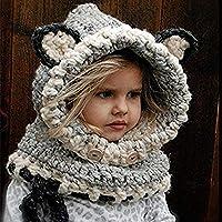 Sombrero De Chal De Zorro Coreano Sombrero De Lana De Otoño E Invierno Bufanda Hecha A Mano Chal De Bebé Sombrero De Una Pieza para Padres E Hijos Capa para Niños,Gray