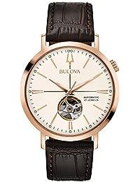 Bulova Men's Classic Automatic Rosetone Stainless Croco Leather Strap Watch