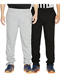 Yo Republic Mens Cotton Track Pant Combo Offer (Pack of 2)(AT-0417-1M_Gray_Black_Medium)