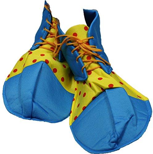 Party Kleid Pfau blau gelb Polka Dots Soft Jumbo Clown Schuhe Erwachsene Kostüm Gr. One size, blau - peacock blue