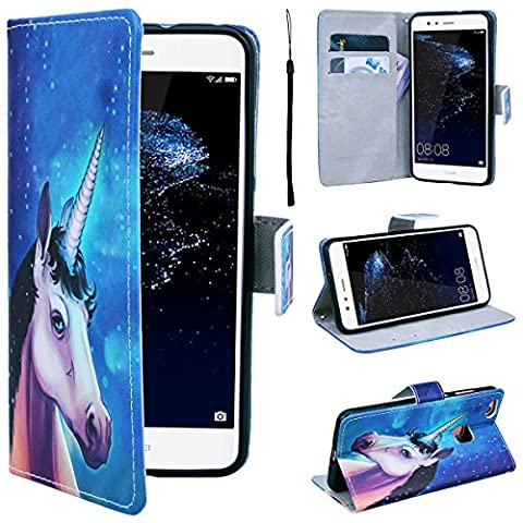 SmartLegend Huawei P10 Lite Wallet Case, P10 Lite Leather Case, Folio Flip Case Cover for Huawei P10 Lite with Strap, Stars Sky Mysterious Unicorn Book Style PU Full Body Protection with [Kickstand] Stand Function, Card Slots Holster Purse, Soft TPU Silicone Inner Back Cover SmartPhone Protective Skin Cover for Huawei P10 Lite - Blue Unicorn