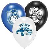 6-teiliges Luftballon-Set * POLIZEI * // AMSCAN // Kindergeburtstag Kinder Geburtstag Feier Set Mottoparty Deko Fest Party Motto Deko Luftballons Ballons Police Polizeiauto