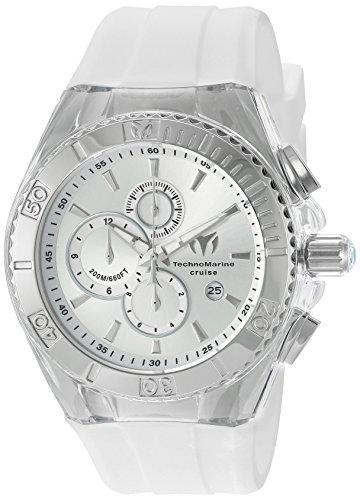 TechnoMarine TM-115215 Orologio da Polso, Display Cronografo, Uomo, Bracciale Silicone, Bianco