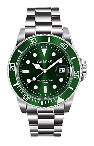 Men's Business Casual 30M Waterproof Wristwatch Quartz Analog Stainless Steel Case Wrist Watch Fashion Green/Blue/ Black Dial With Date For Man