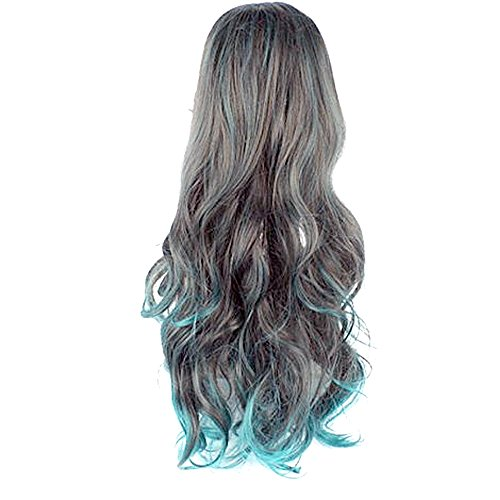 Vococal® Perruques de Cheveux Ondulés Longs Bouclés Couleur Couture pour Cosplay Halloween Party Noël