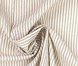 0,5m Leichter Blusenstoff Seersucker - beige Streifen
