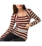 2-in-1 Shirt, beige-bordeaux gestreift (44)