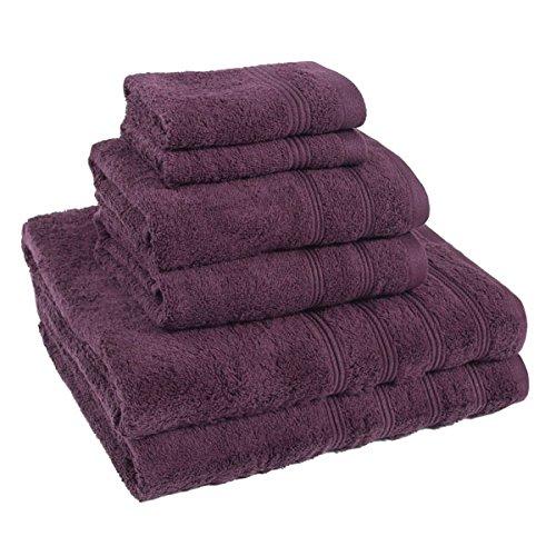 Linens Limited Simplicity - Handtuch-Set - ägyptische Baumwolle 450 g/m² - 6-tlg - Aubergine - Auberginen-handtuch-set