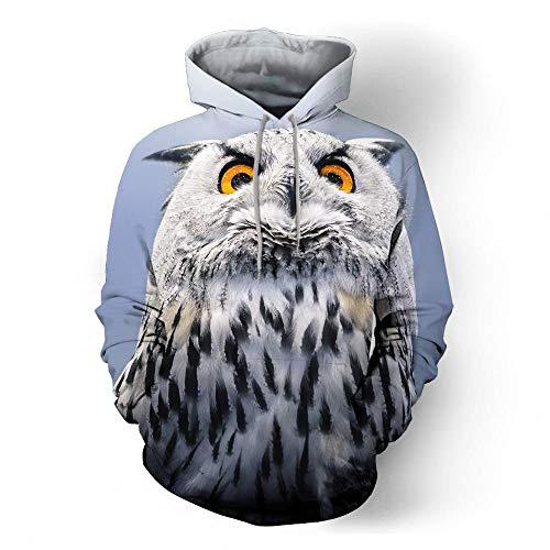 XiangYu Kinder Kapuzenpullover,Jugend Hoodie 5D Eule Drucken Lose Lange Ärmel Kapuzen-Sweatshirt Pullover Herbst&Winter owl-XXL -