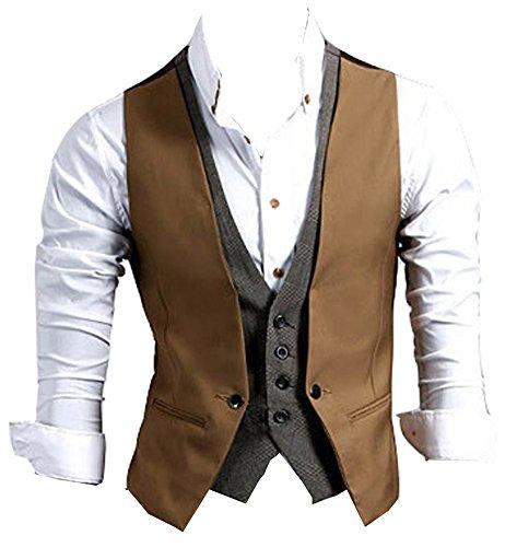 Izacu da uomo progettato superiore casual Slim Fit skinny vestito gilet gilet gilet Brown UK XS/Etichetta M