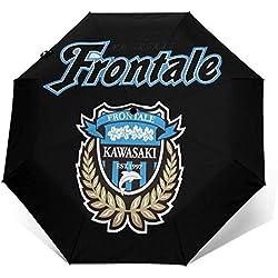 Parapluie de Voyage Kawasaki Frontale Logo - Revêtement Teflon Hydrofuge Coupe-Vent - Fermeture à Ouverture Automatique (Black Elegance)