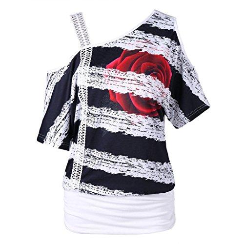 ESAILQ Damen Tunika Sommer Tops Damen Kurzarm Basic Uni Leichtes Freizeit Rundhals mit Knopf Plissee T-Shirt Oberteile(XL,Weiß)