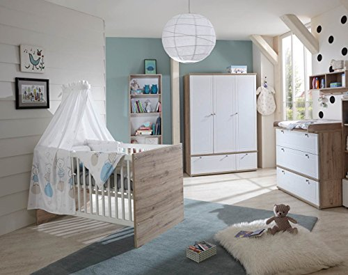 Babyzimmer, Kinderzimmer, Babymöbel, Komplett-Set, Babyausstattung, Babybett, Wickelkommode, Schrank, Mädchen, Junge, weiß, Eiche St. Tropez NB