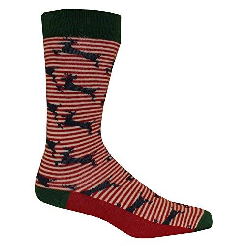 Ted Baker Hirsch Muster Gestreifte Socken, Navy/rot/weiß Einheitsgröße (Zehen-socken Gerippten Baumwolle)