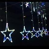 Salcar Bunte LED Lichterkette 2m 138er LED 12 Bunte Sterne Lichtervorhang für Weihnachten Deko Party Festen, blinkend (RGB)