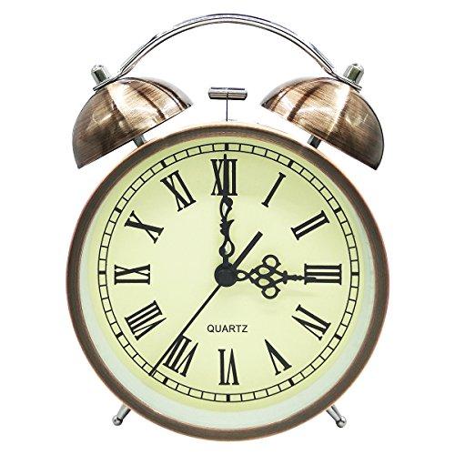 COOJA Vintage Reloj Despertador de Doble Campana con Sonido Fuerte, Alarma Despertador sin Tic TAC Silencioso...