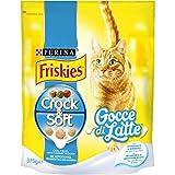 Friskies Purina Crocchette Gatto Crock e Soft Gocce di Latte con Pollo, Latte e Verdure Aggiunte - 12 Sacchi da 375 g Ciascuno