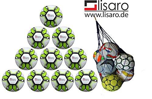 Lisaro 10 Fussbälle/Ballpaket Soccerlite Gr.5_290g, Top jugend Traingsfußball + Gratis Ballnetz