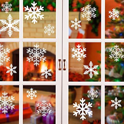 fensterbilder schneeflocken Foho Schneeflocken Fensterbild, Weihnachtsdeko Fensterbilder für Winter & Weihnachten Fensterdeko Set - Statisch Haftende PVC Aufkleber Weihnachten Aufkleber für Schaufenster Vitrinen Fenster Türen